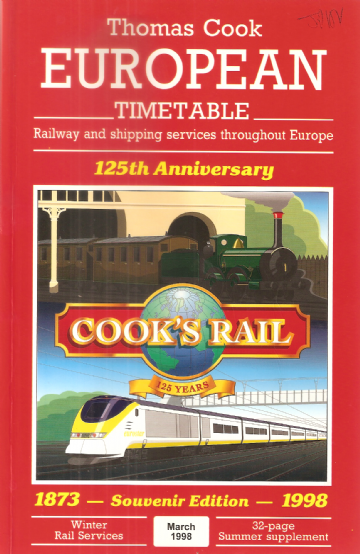 Thomas Cook European Timetable - 125th Anniversary Original Edition
